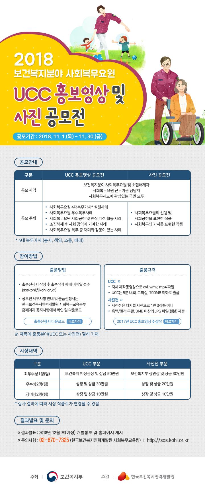 2018년 보건복지분야 사회복무요원 UCC홍보영상 및 사진 공모전